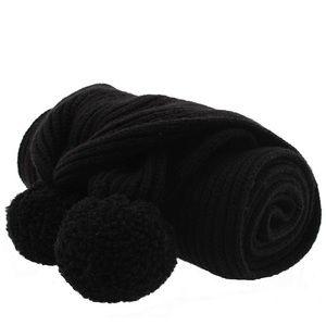 NWT Coach Black Shearling Pom Pom Knit Scarf